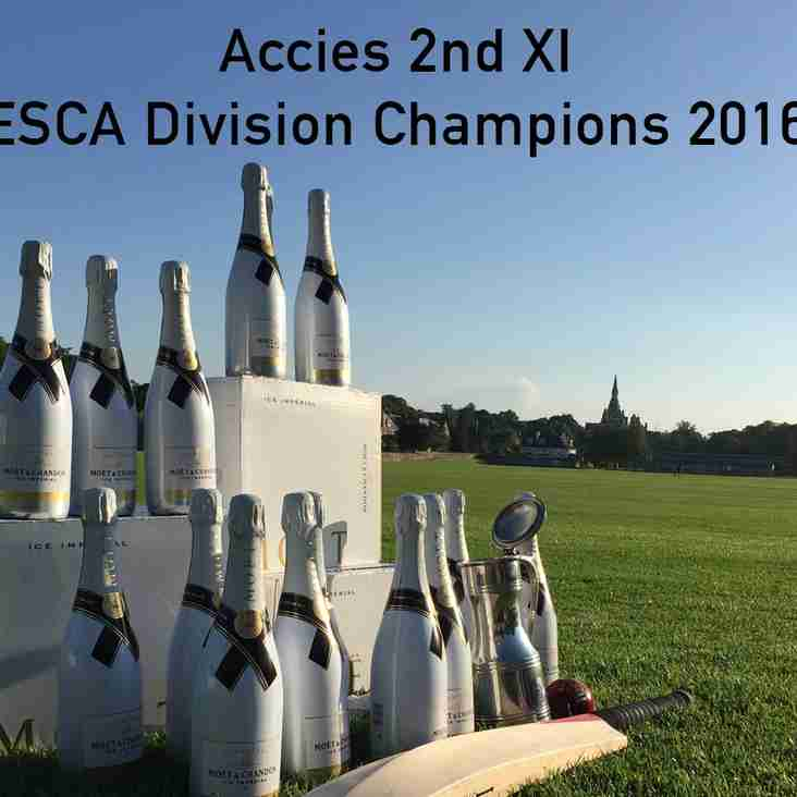 Accies 2nd XI ESCA Division Champions 2016