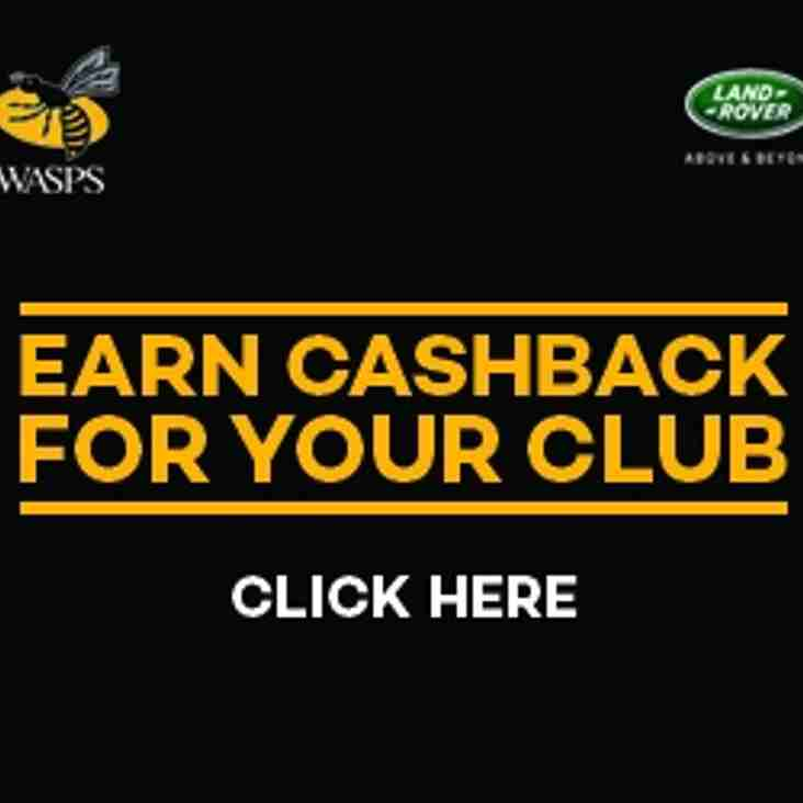 Earn 15% Cashback for your Club with Wasps Tickets