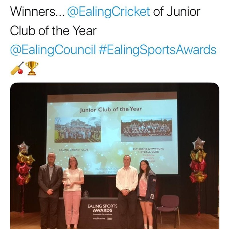 Ealing CC are Junior Club of the Year