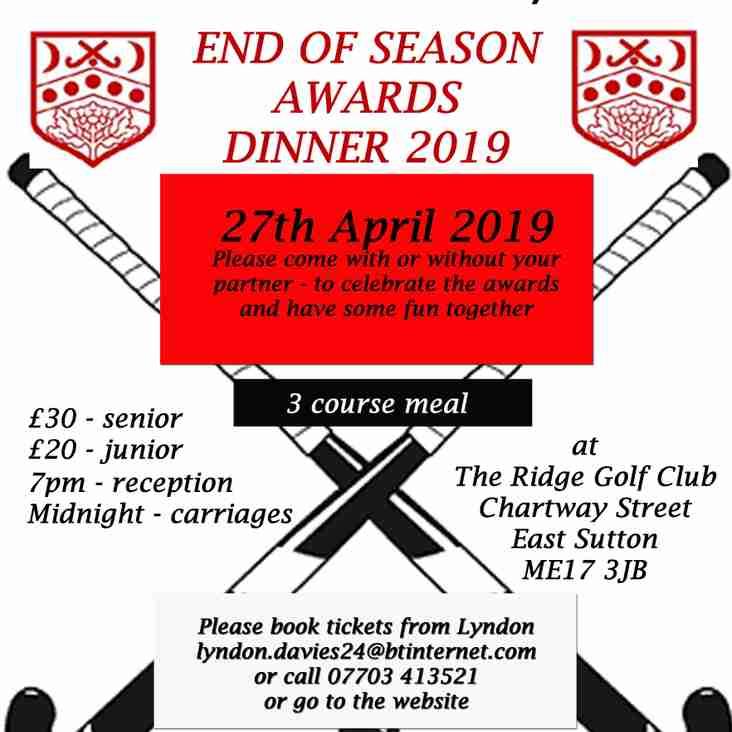 End of Season Dinner  -  27th April  2019