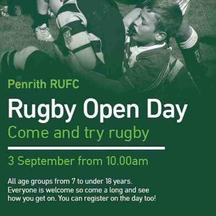 Youth Rugby Open Day, Sunday 3rd September