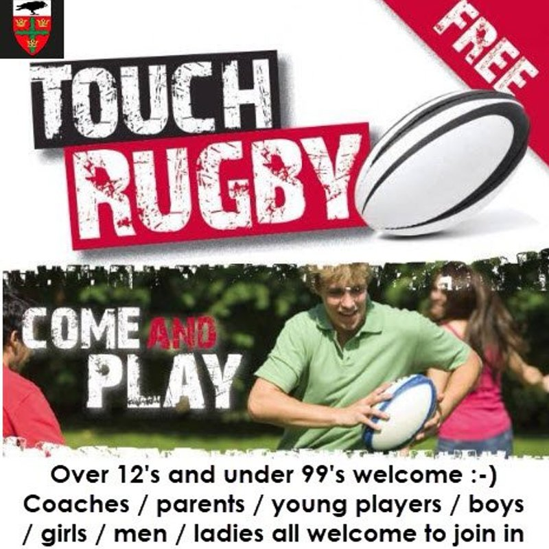 SUMMER TOUCH RUGBY WEDNESDAY 6.45 for 7.00