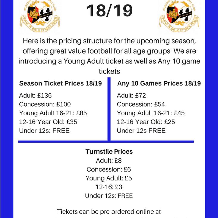 2018/2019 Season Ticket Prices Announced
