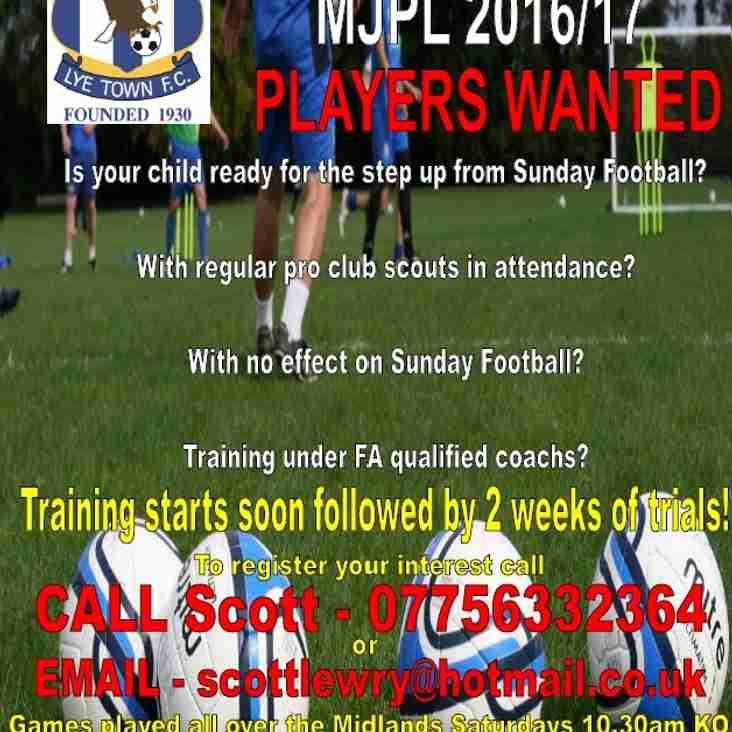 New team! Lye Town u10s Midland Junior Premier League 2016/17