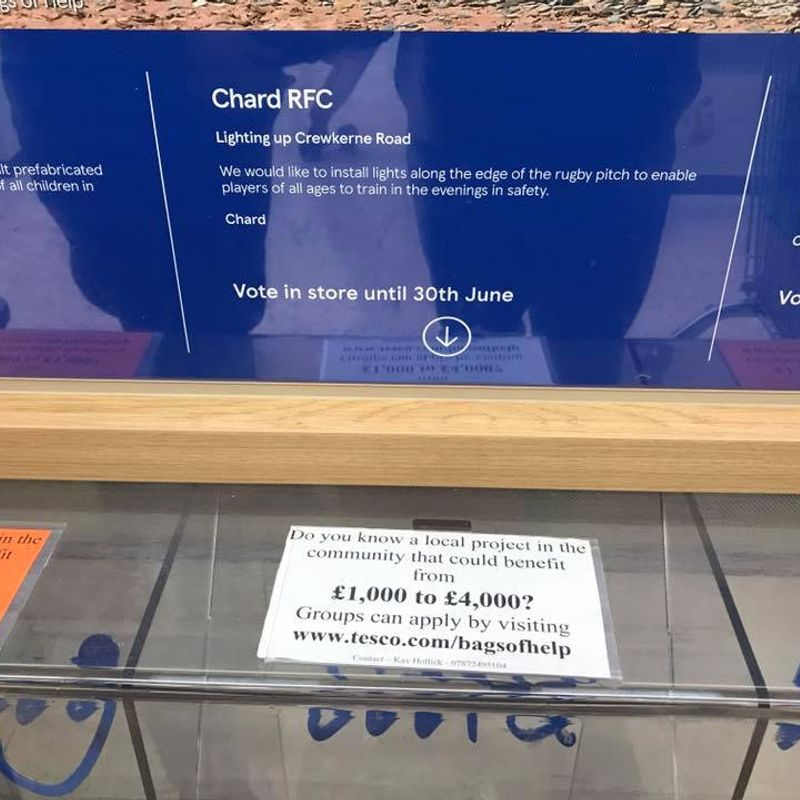 Please support the club at Tesco ask for your blue token with each purchase and post in the Chard RFC box