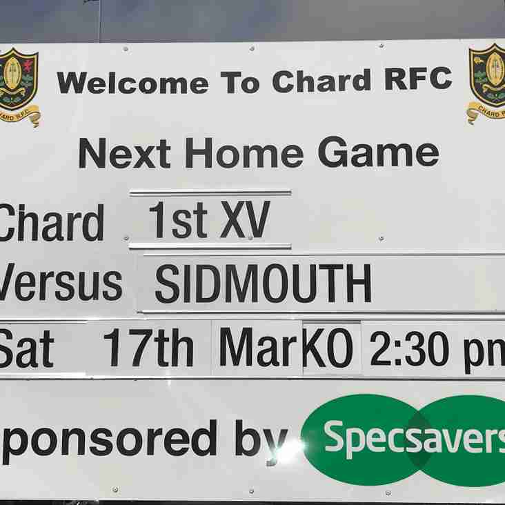 Busy Weekend for Chard RFC as the 1st XV welcome Sidmouth