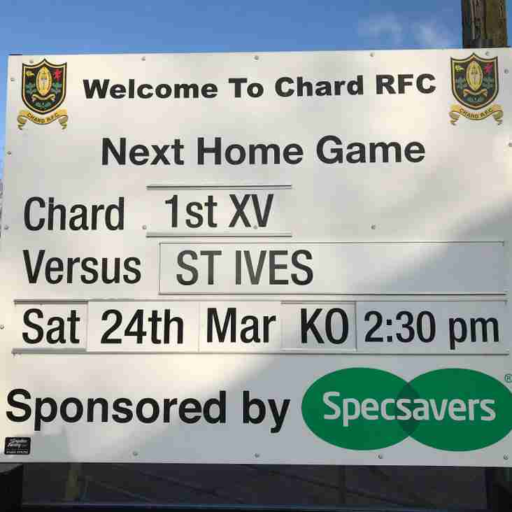 This weekend we welcome St Ives to Essex Close