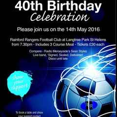 Rainford Rangers 40th Birthday Celebrations - 14th May 2016