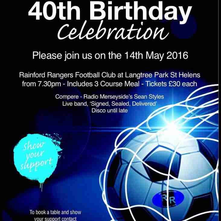 Rainford Rangers 40th Birthday Celebrations - 14th May 2016