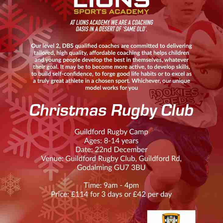 Lions Christmas Rugby Camp