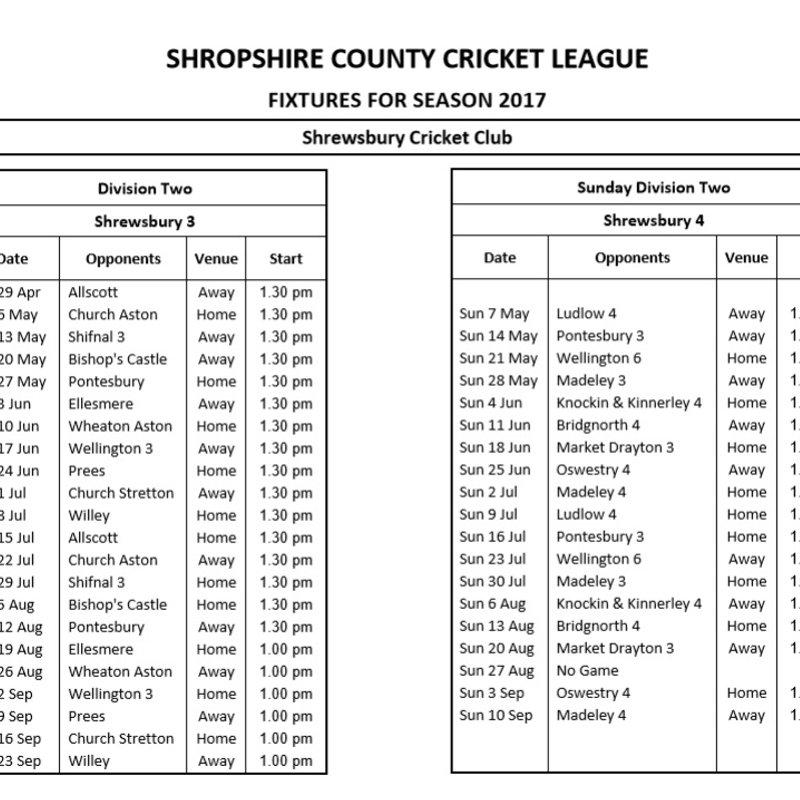 3rd & 4th XI Fixtures 2017