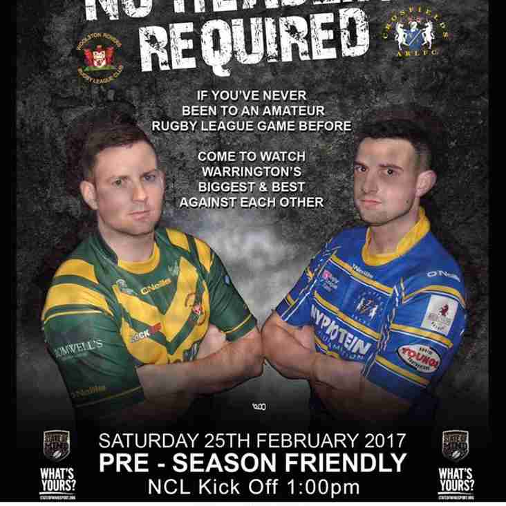 Woolston Rovers v Crosfields and Woolston Rovers 'A' v Halton Farnworth Hornets 'A' - this SATURDAY followed by Race Night
