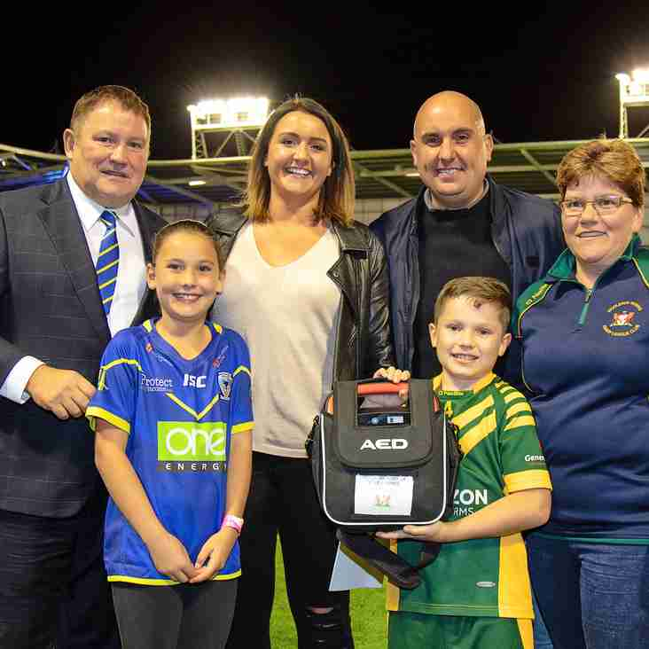 Defibrillator donated to all Warrington Community Rugby League Clubs