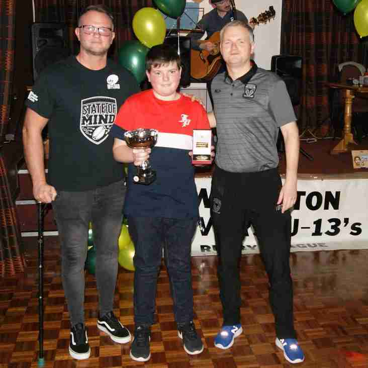 ROVERS UNDER 13s RECOGNISE OUTSTANDING CONTRIBUTION WITH STATE OF MIND AWARD AND SAMBOU CLAIMS PLAYER OF THE YEAR CROWN
