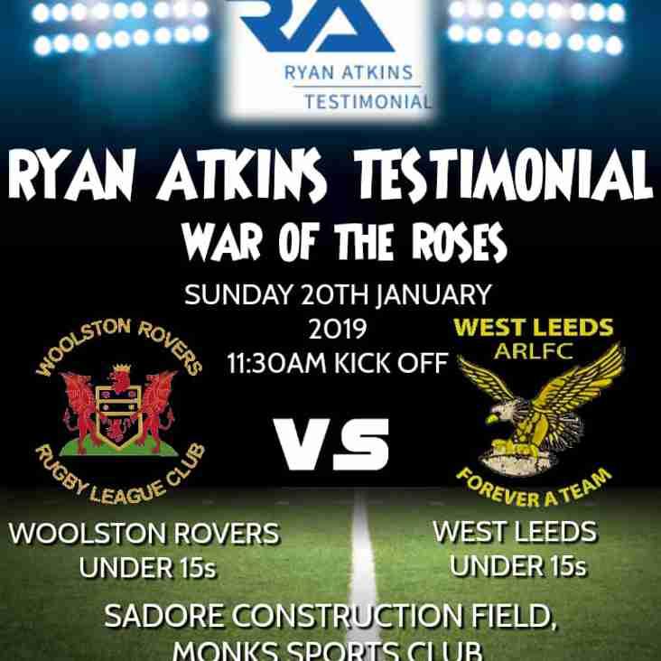 Rovers Under 15s take on West Leeds in Ryan Atkins Testimonial Game
