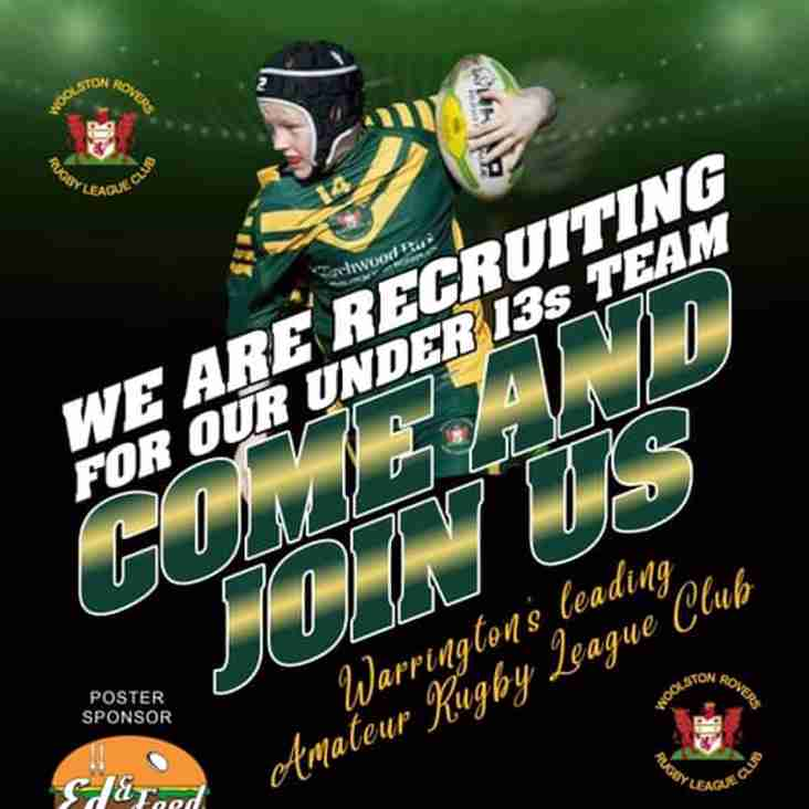 Woolston Rovers looking for Under 13s Recruits