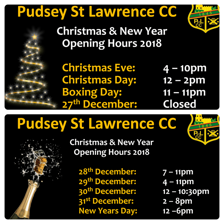 PSL Christmas Opening Hours<