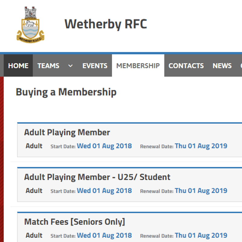 New Club Membership Schemes Available for 18/19