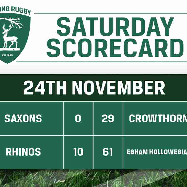 Saturday Scorecard - 24th November