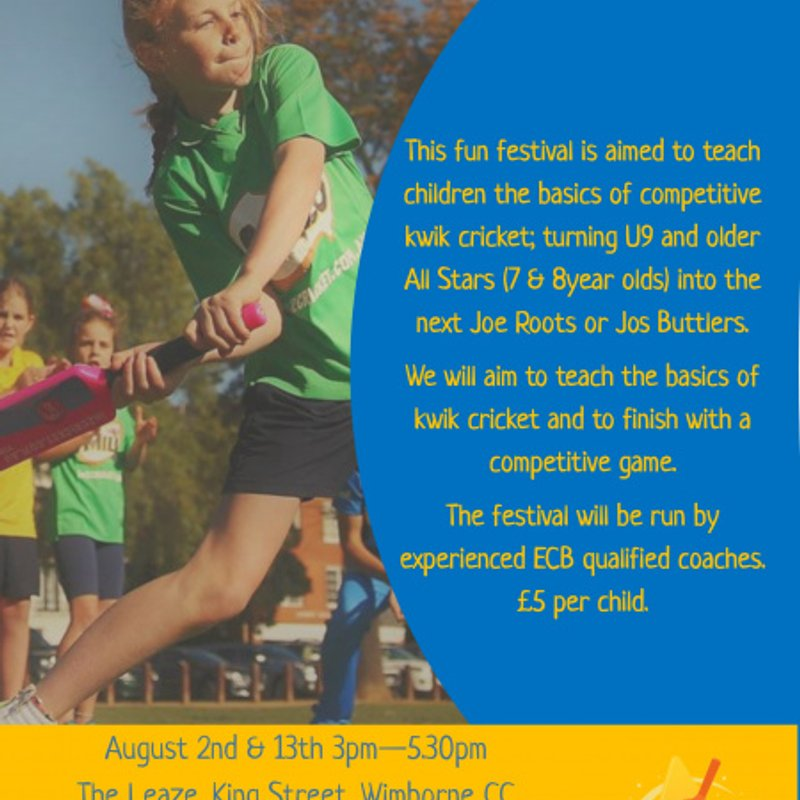 All Stars/Kwik cricket summer festivals