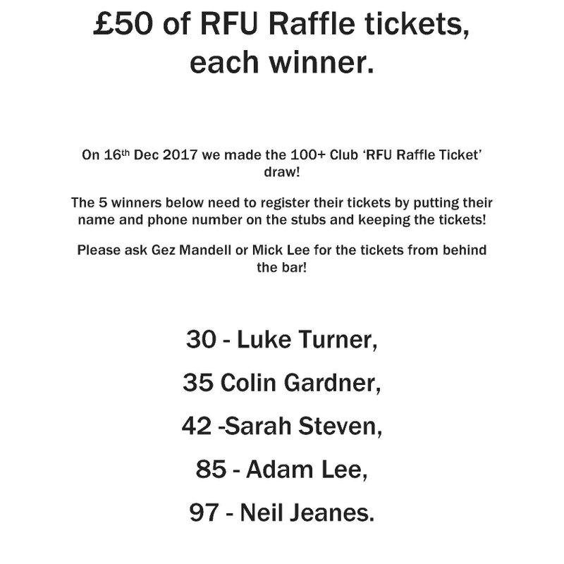 100+ Club - December RFU Raffle Ticket Draw