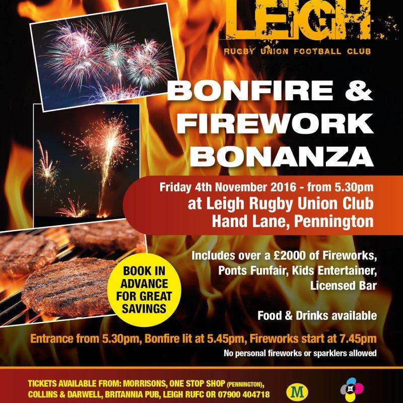 Leigh RUFC Bonfire and Fireworks 4th November