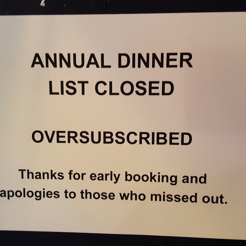 Annual Dinner update