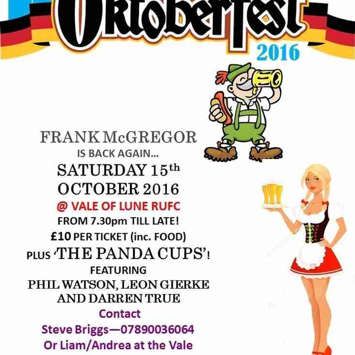 OKTOBERFEST - SATURDAY 15TH OCTOBER !!!!