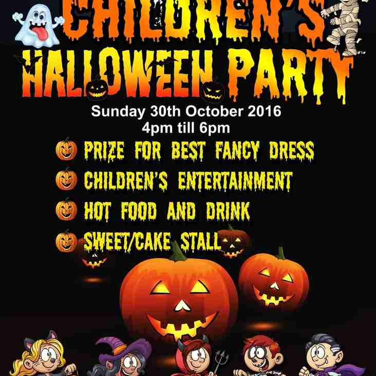 Halloween Party 30th October 4pm till 6pm