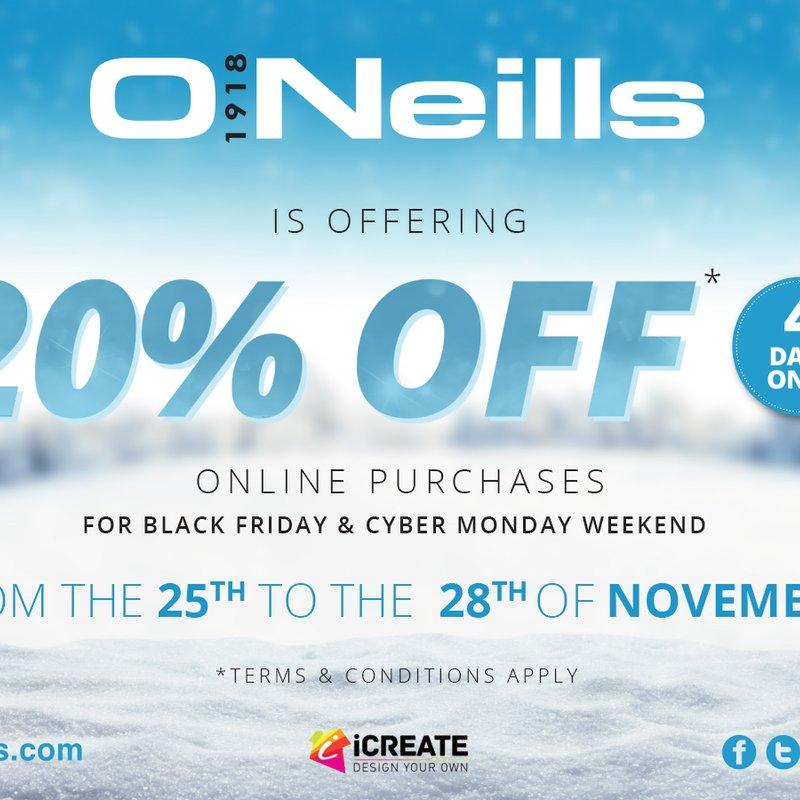 O'Neill 20% off !!!!!