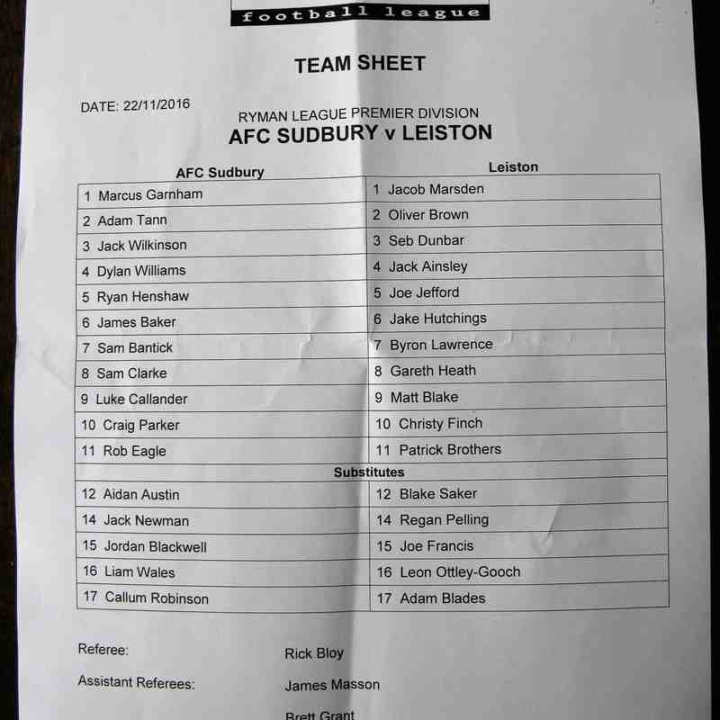 AFC Sudbury 1 Leiston 3