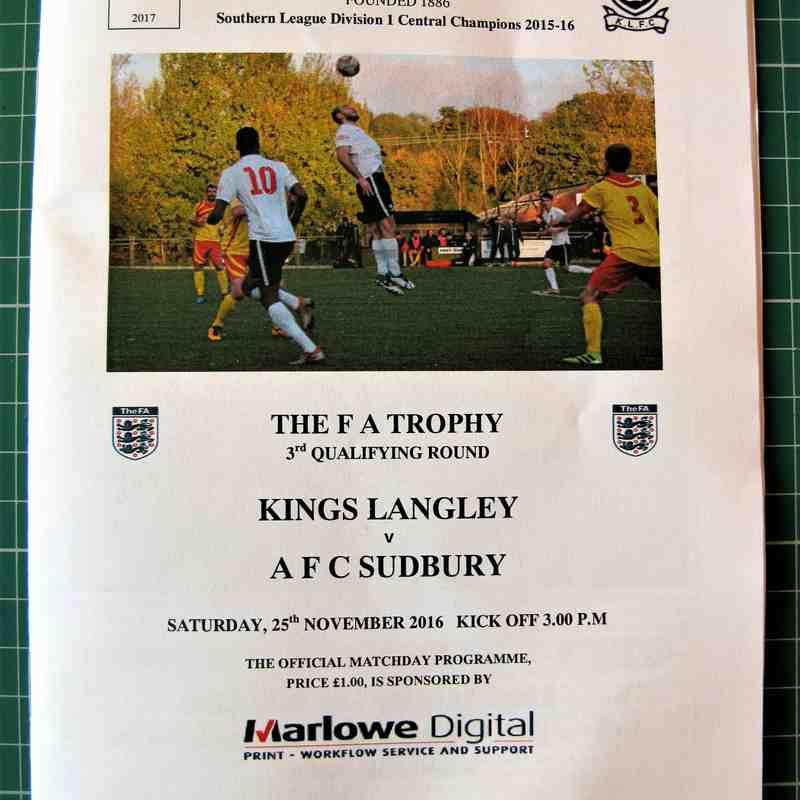 Kings Langley 1 AFC Sudbury 3 FA Trophy