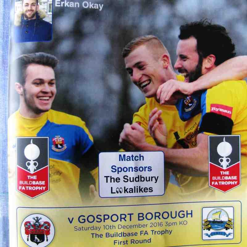 AFC Sudbury 2 Gosport Borough 1  FA Trophy  1st Rnd