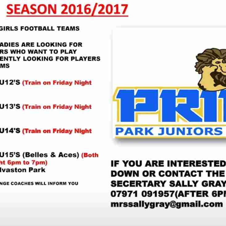 PLAYERS REQUIRED FOR GIRLS TEAMS 2016-17 SEASON