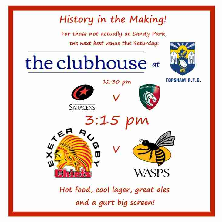 Premiership semi finals this weekend - on the big screen at TRFC!