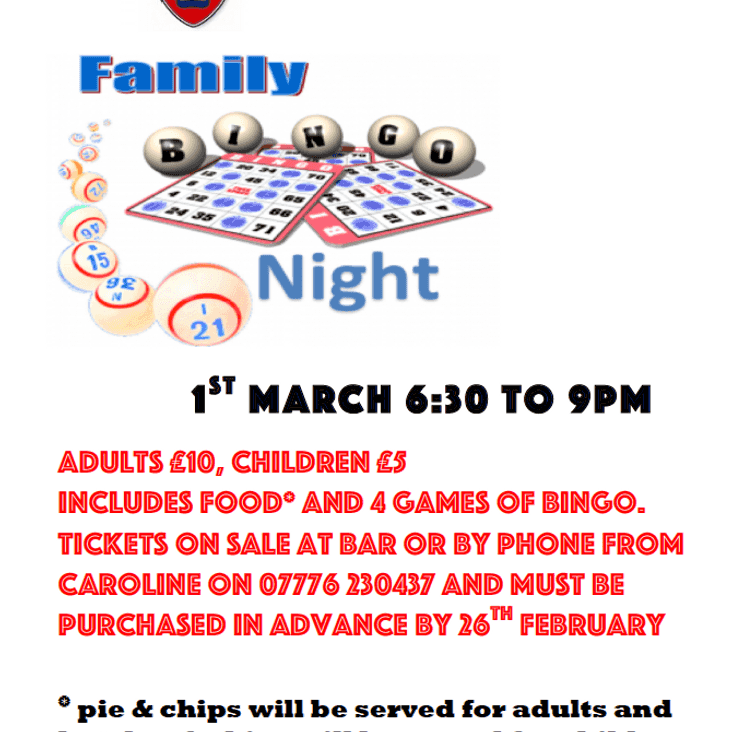 Family Bingo Nights Return to Thatcham RFC