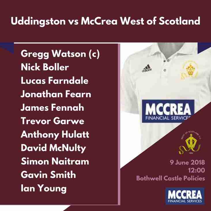 Premier League: Uddingston vs McCrea West of Scotland