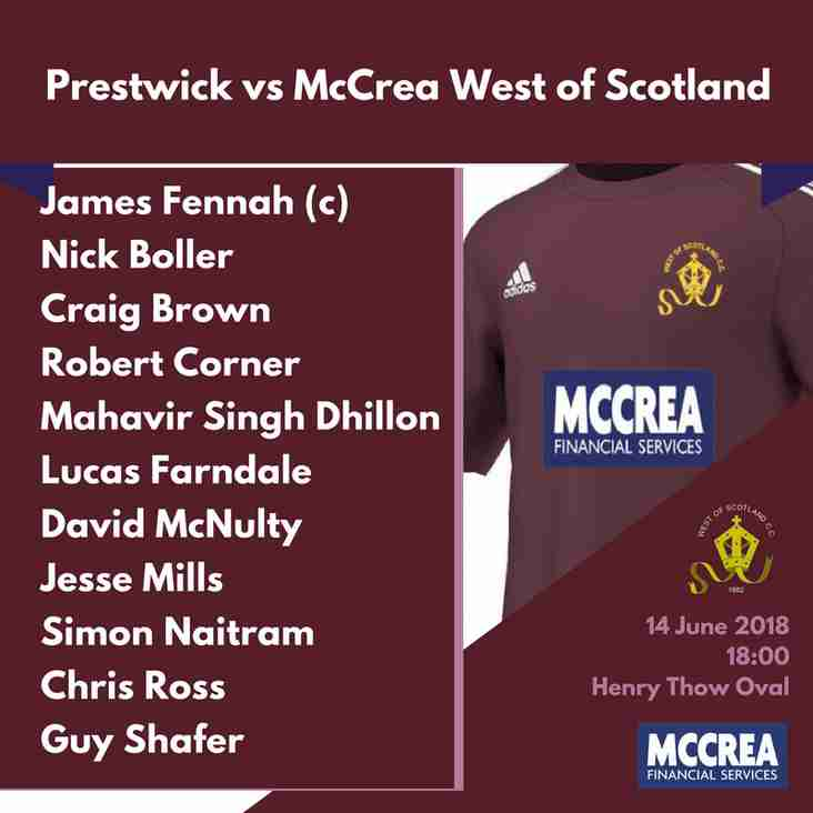Rowan Cup T20: Prestwick vs McCrea West of Scotland