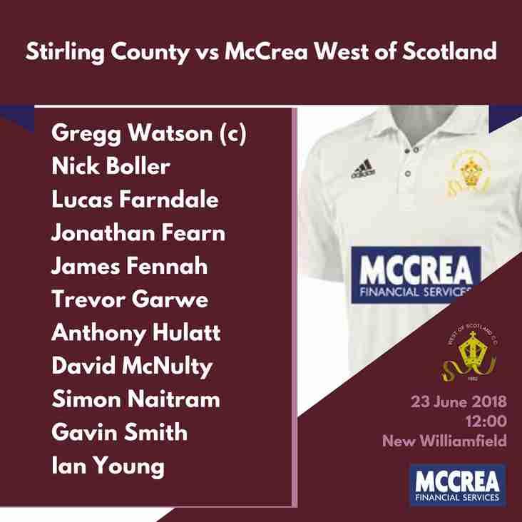 Premier League: Stirling County vs McCrea West of Scotland