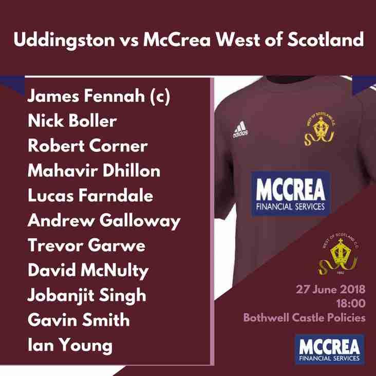 McCulloch Cup T20: Uddingston vs McCrea West of Scotland