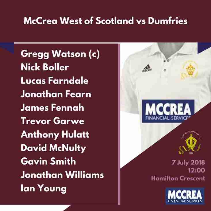 Premier League: McCrea West of Scotland vs Dumfries