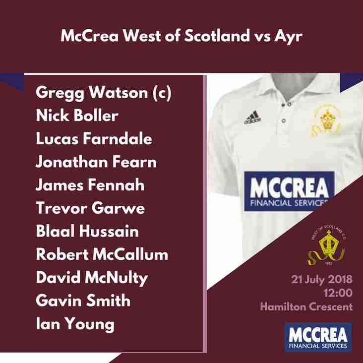 Premier League: McCrea West of Scotland vs Ayr