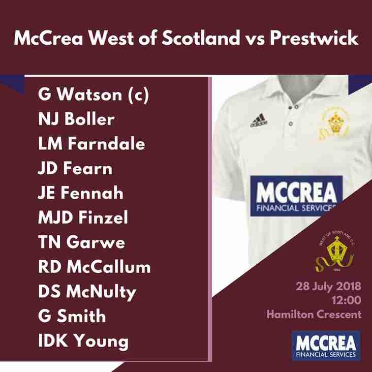 Premier League: McCrea West of Scotland vs Prestwick