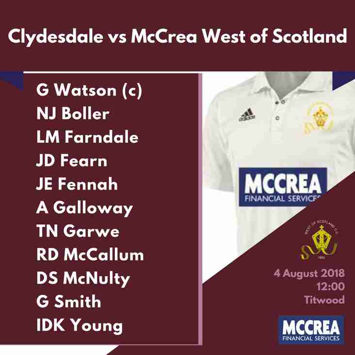 Premier League: Clydesdale vs McCrea West of Scotland