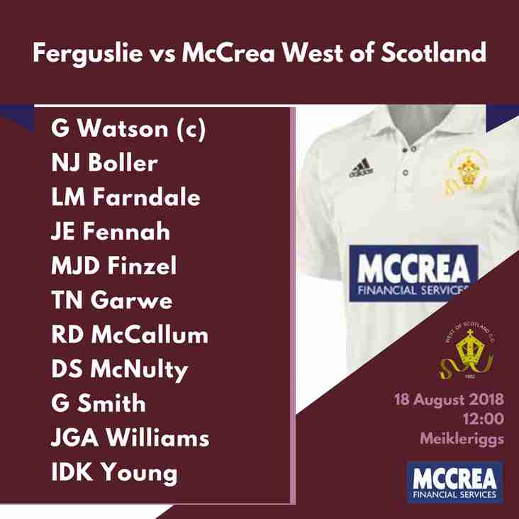 Premier League: Fergsulie vs McCrea West of Scotland