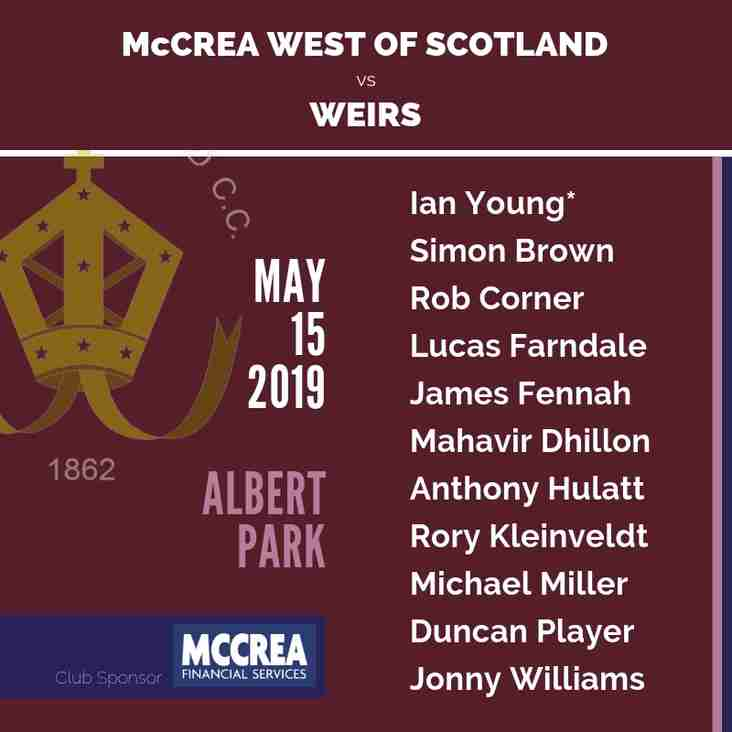 Twenty20 Cricket: Weirs vs McCrea West of Scotland