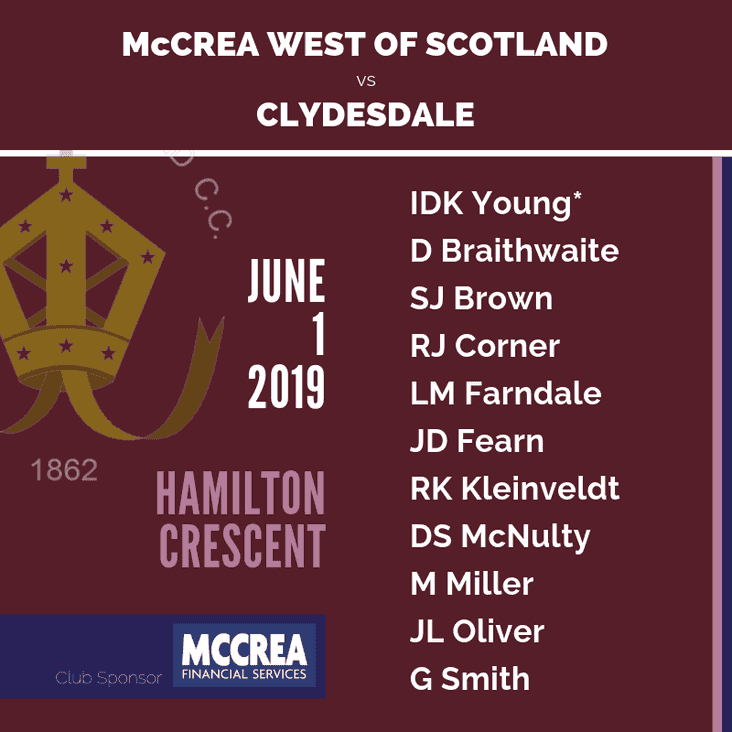 Glasgow Derby: McCrea West of Scotland  vs Clydesdale