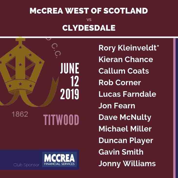 Twenty20 Cricket: Clydesdale vs McCrea West of Scotland