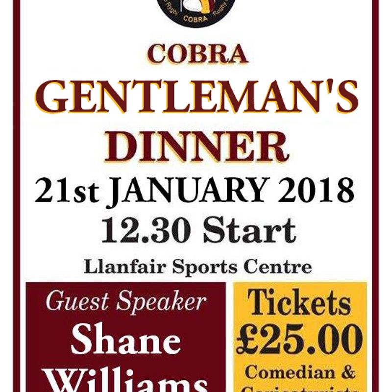 Shane Williams ( MBE) Is this year's Guest Speaker @ Cobra Gents Day