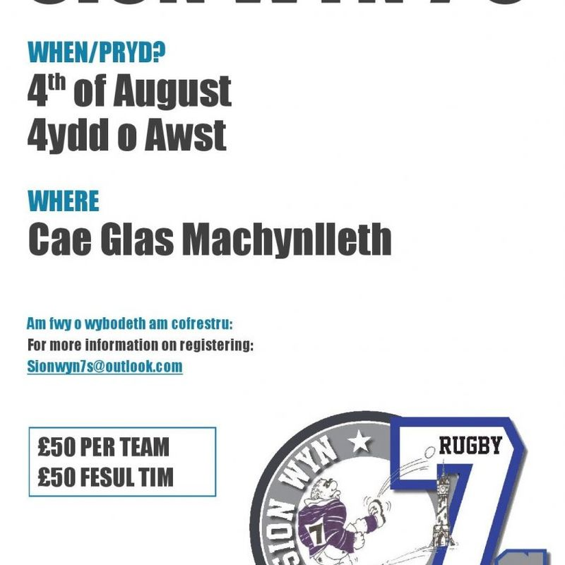 Sion Wyn 7s at Machynlleth RFC - still time to enter